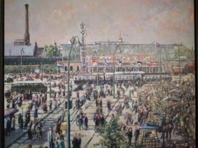 Stationplein Leiden  €3200,-  (84,5 x 99,5 cm)