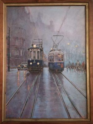 Trams NZH/GVBA Westermarkt  van €2100,- voor €840,- (77,5 x 57,5 cm)
